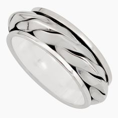 9.69gm meditation and concentration 925 silver spinner band ring size 10.5 c8390