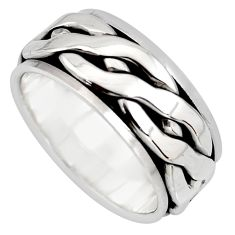 10.69gm meditation and concentration 925 silver spinner band ring size 7.5 c8392