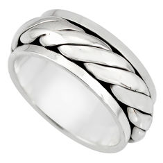 10.48gm meditation and concentration 925 silver spinner band ring size 9.5 c8395
