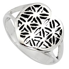 3.26gms flower of life symbol 925 sterling silver heart ring size 5 c8396