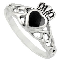 925 sterling silver 0.98cts natural black onyx heart crown ring size 7.5 c8400