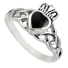 Irish crown claddagh natural black onyx 925 silver heart ring size 7.5 c8401