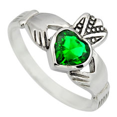 Irish crown claddagh emerald (lab) 925 sterling silver heart ring size 9 c8403