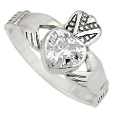 Irish crown claddagh natural white topaz 925 silver heart ring size 6.5 c8405
