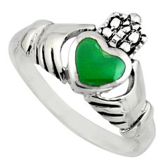 Irish crown claddagh natural chalcedony 925 silver heart ring size 8.5 c8407