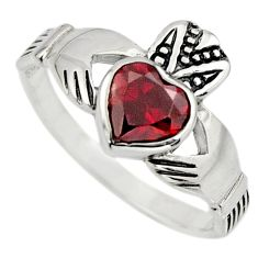 925 silver irish crown claddagh natural red garnet heart ring size 7.5 c8408