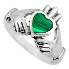 Irish crown claddagh natural green malachite 925 silver heart ring size 8 c8409