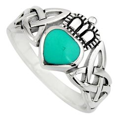 Irish crown claddagh fine green turquoise 925 silver heart ring size 6.5 c8410