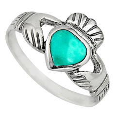Irish crown claddagh fine green turquoise 925 silver heart ring size 8 c8411