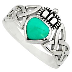Irish crown claddagh fine green turquoise 925 silver heart ring size 6.5 c8412
