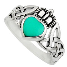 925 silver irish crown claddagh fine green turquoise heart ring size 6.5 c8413