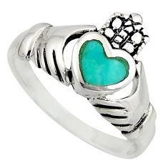 Irish crown claddagh natural turquoise 925 silver heart ring size 7.5 c8414