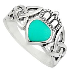 Irish crown claddagh fine green turquoise 925 silver heart ring size 4.5 c8415