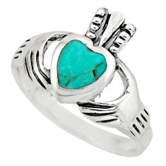 Irish crown claddagh fine green turquoise 925 silver heart ring size 7.5 c8417