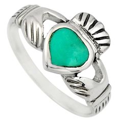 Irish crown claddagh fine green turquoise 925 silver heart ring size 6.5 c8418