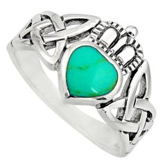 925 silver irish crown claddagh fine green turquoise heart ring size 5.5 c8419
