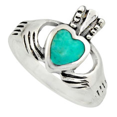 Irish crown claddagh fine green turquoise 925 silver heart ring size 7.5 c8420