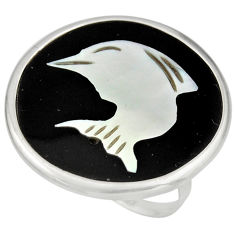 11.73cts natural cameo on shell 925 silver dolphin solitaire ring size 7 c8422