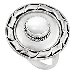 1.79cts natural white pearl 925 sterling silver solitaire ring size 8.5 c8425