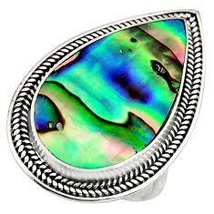 925 silver 10.37cts natural abalone paua seashell solitaire ring size 8 c8427