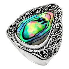 6.80cts natural green abalone paua seashell silver solitaire ring size 8 c8428