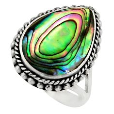 6.40cts natural green abalone paua seashell silver solitaire ring size 6 c8430