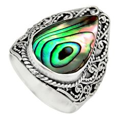 6.78cts natural green abalone paua seashell silver solitaire ring size 7 c8431