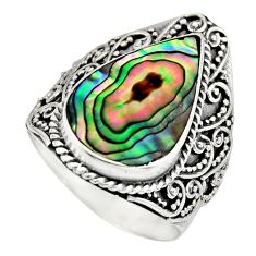 925 silver 6.20cts natural abalone paua seashell solitaire ring size 8 c8432