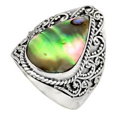 6.80cts natural green abalone paua seashell silver solitaire ring size 8 c8433