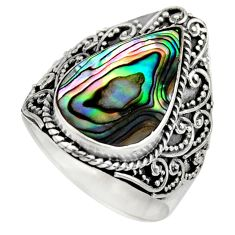 7.02cts natural abalone paua seashell 925 silver solitaire ring size 9 c8434