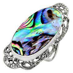 925 silver 11.27cts natural abalone paua seashell solitaire ring size 7 c8436