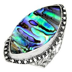 12.40cts natural abalone paua seashell 925 silver solitaire ring size 10 c8438