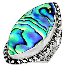 925 silver 13.07cts natural abalone paua seashell solitaire ring size 9.5 c8439