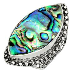 13.84cts natural abalone paua seashell 925 silver solitaire ring size 7 c8440