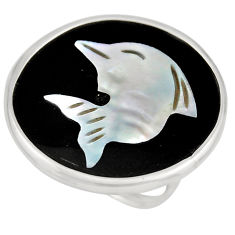925 silver 12.18cts natural cameo on shell dolphin solitaire ring size 7 c8445