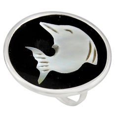 11.17cts natural cameo on shell 925 silver dolphin solitaire ring size 7 c8447