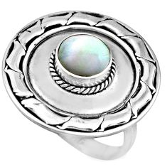 2.12cts natural white pearl 925 sterling silver solitaire ring size 7.5 c8452
