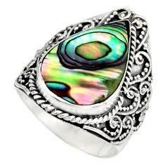 6.31cts natural green abalone paua seashell silver solitaire ring size 7 c8453