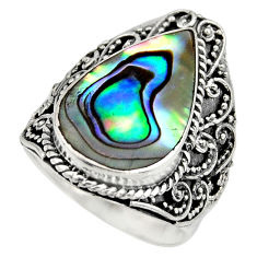 6.31cts natural abalone paua seashell 925 silver solitaire ring size 7 c8454