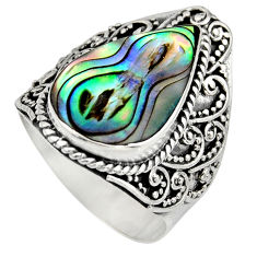 6.09cts natural green abalone paua seashell silver solitaire ring size 8 c8455