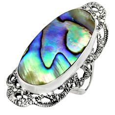 925 silver 10.60cts natural abalone paua seashell solitaire ring size 8 c8456