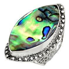 13.45cts natural abalone paua seashell 925 silver solitaire ring size 7.5 c8458