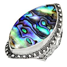 13.84cts natural abalone paua seashell 925 silver solitaire ring size 8 c8459