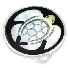 13.15cts natural cameo on shell 925 sterling silver tortoise ring size 7.5 c8479
