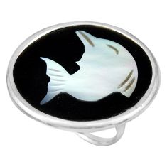 10.65cts natural cameo on shell 925 sterling silver dolphin ring size 7.5 c8480