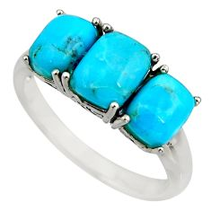 5.11cts fine blue turquoise 925 sterling silver mens ring jewelry size 9 c8501