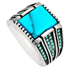 6.53cts fine blue turquoise 925 sterling silver mens ring size 11.5 c8502