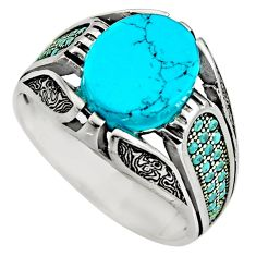 925 sterling silver 5.62cts fine blue turquoise oval mens ring size 11.5 c8503