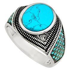 5.52cts fine blue turquoise 925 sterling silver mens ring jewelry size 11 c8504