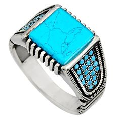 5.24cts fine blue turquoise 925 sterling silver mens ring size 11.5 c8505